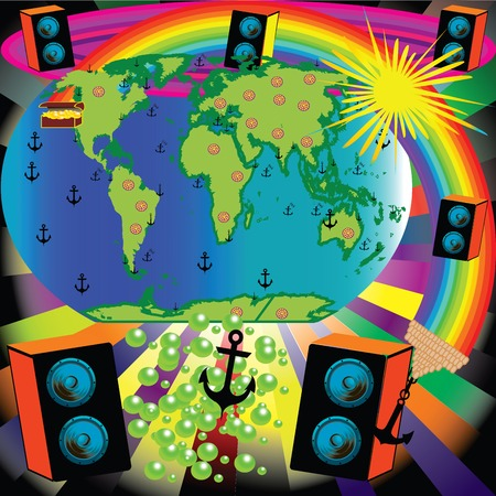 funn: Abstract background with earth, speakers, Sun, rainbow, continents, anchor, treasure Illustration