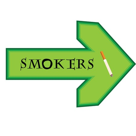 smokers: Green banner for smokers with arrow pointing right on white background