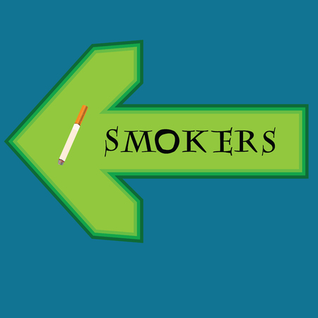smokers: Green banner for smokers with arrow pointing right on blue background Illustration