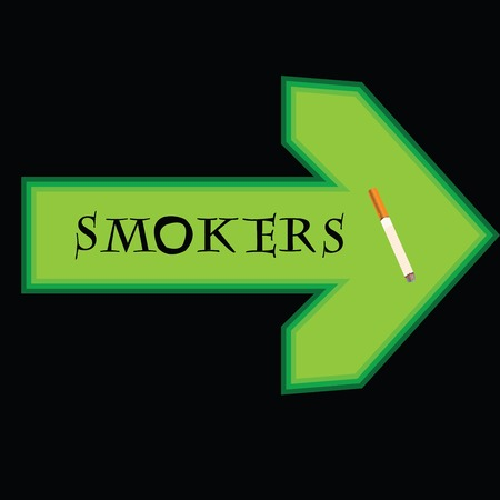 smokers: Green banner for smokers with arrow pointing right on black background Illustration