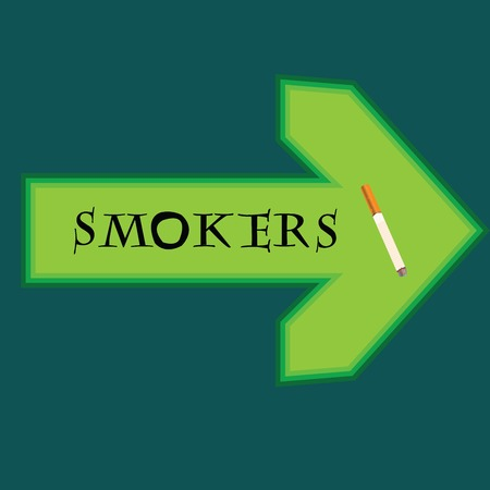 smokers: Green banner for smokers with arrow pointing right on bluebackground