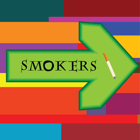 smokers: Green banner for smokers with arrow pointing right on retro background