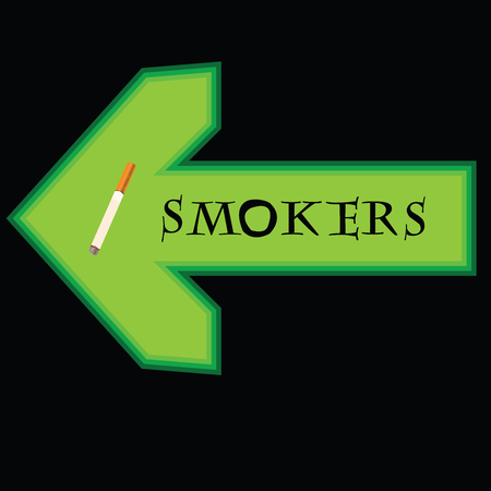 smoking place: Green banner for smokers with arrow pointing left on black background