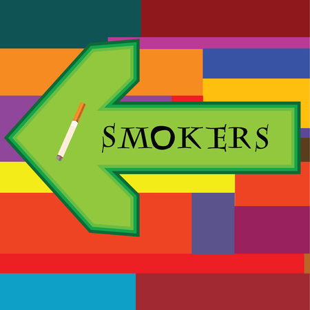 smokers: Green banner for smokers with arrow pointing left on retro background