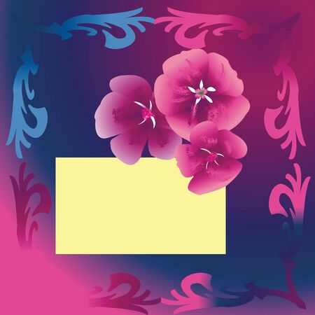 Purple floral card with gradient blue and purple