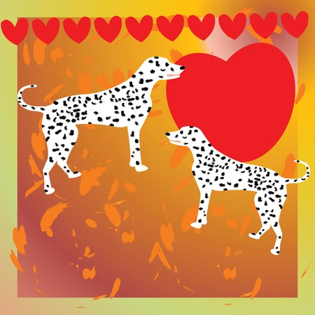 enjoyable: Abstract Illustration with a dog and a heart