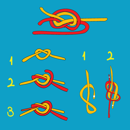 overhand: Water knot, figure eight knot, overhand knot over blue background Illustration