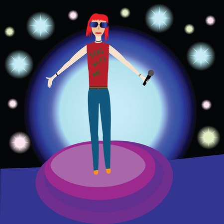 funn: Girl singer on stange with stylized background