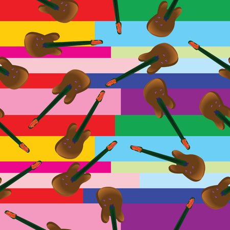 funn: Guitar pattern with colored stripes background