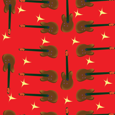funn: Seamless guitar pattern over red background Illustration