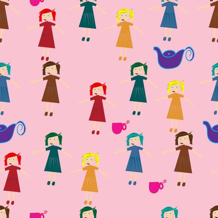 funn: A Seamless pattern for children with cute girls and teacups.