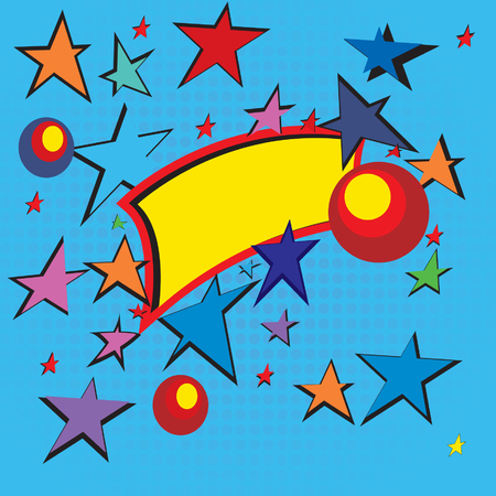 an announcement message: Illustration with text bubble and stars; Pop art; Illustration
