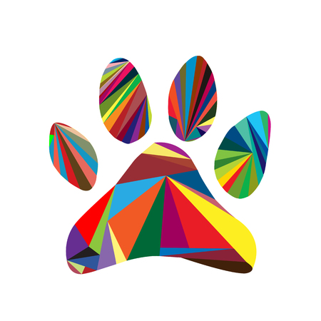 Colorful paw design logo for shirt; clothes; sites; Illustration