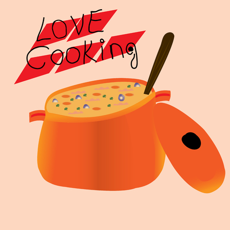 Abstract orange cooking pot icon with love cooking writing Illustration