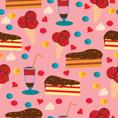 Seamless pattern with cake, ice cream and drink