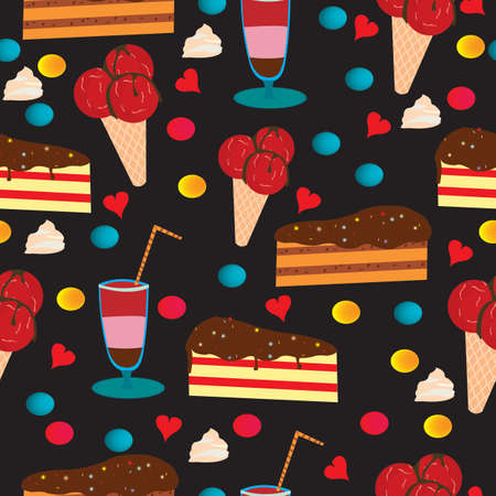 Seamless pattern with cake and ice cream and drink Ilustrace