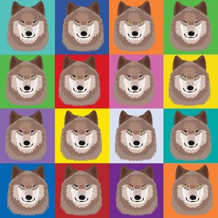 Illustration with wolves in pop art Andy Warhol style; Pack concept