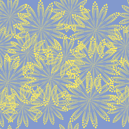 Seamless blue abstract yellow flowers background; Flowers made of circles