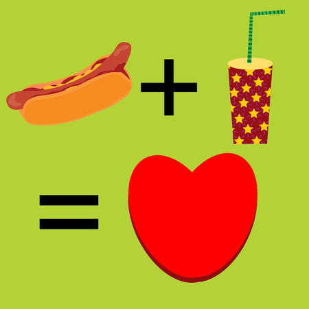 Illustration with hot dog juice glass and heart;