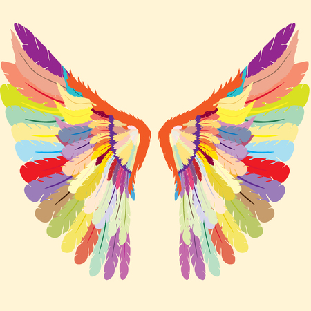 Beautifully colored gothic wings Illustration