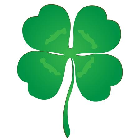 lucky clover: Simple luck clover over white background Illustration