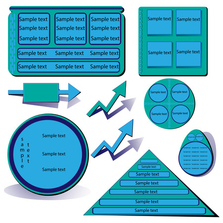 Vector with blue infographics; office supplies Illustration