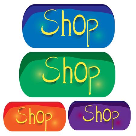 Vintage shop buttons; Orange, purple, green, blue buttons with shop  write Illustration