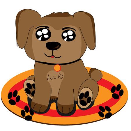Cute puppy cartoon draw on a carpet