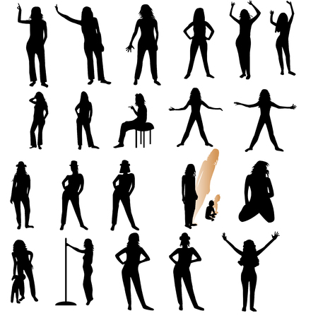 Twenty one woman silhouettes over white background; Ilustrace