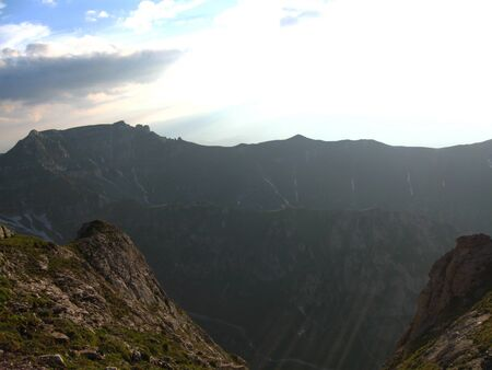 Beautiful summer mountain landscape  with ridges Stock Photo