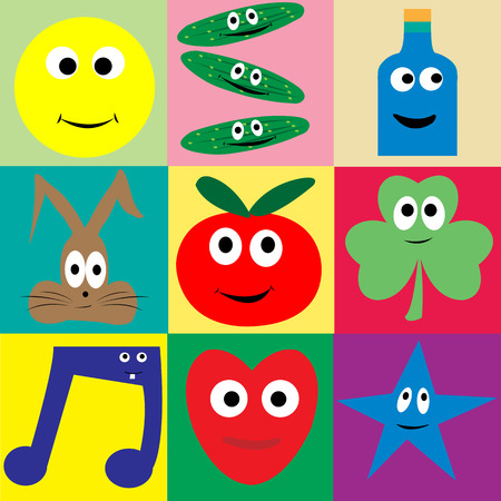 Cartoon collection with smilling vegetables; rabbit , bottle,star, heart and music note