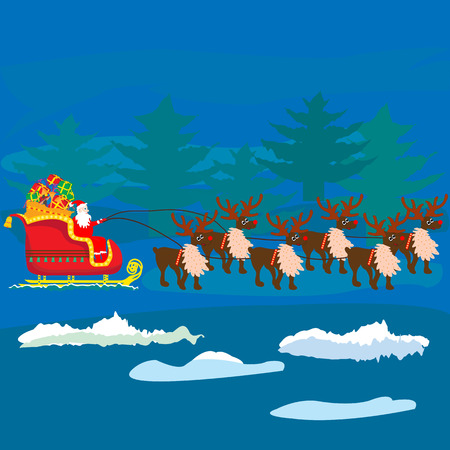 Christmas Santa Claus on sledge with reindeer and gifts ; vector illustration;