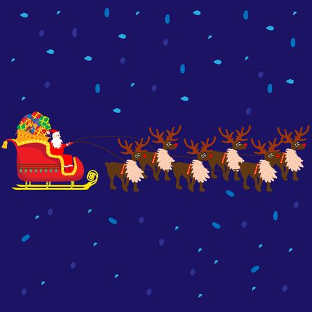Christmas Santa Claus on sledge with reindeers and gifts ; vector illustration;