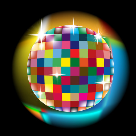 Colorful squared circle with glow effect; Discoball vector Illustration
