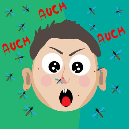 Upset boy bitten by mosquitoes; flat design