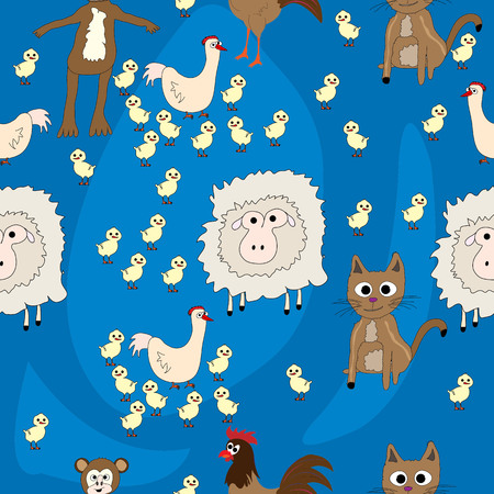 Seamless pattern with animals; Flat design for children