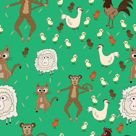 Seamless pattern with design of monkey, chicken, chick, rooster sheep and cat;  Flat design for children Ilustrace