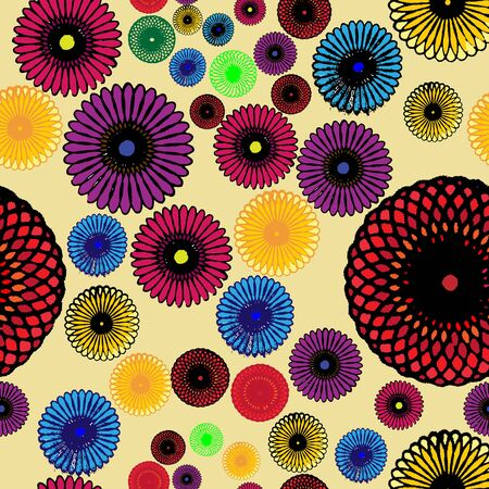 Seamless geometric pattern with colorful rosette; Beautiful design