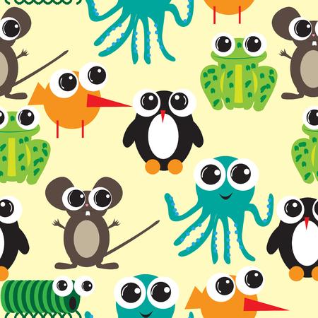 Seamless pattern with big eyes cartoon; flat design
