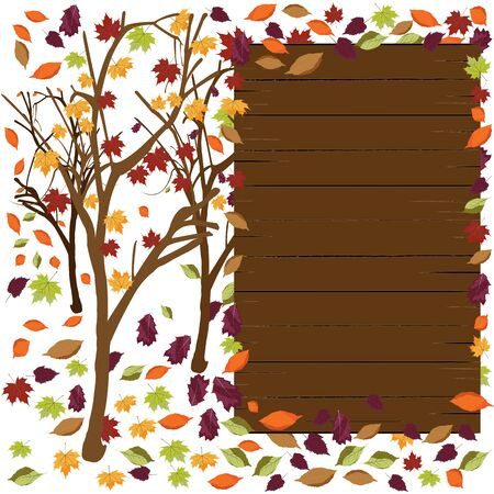 Autumn falling leaves with empty wooden sign with space for text; Template of wooden sign for an advertisement for seasonal discount