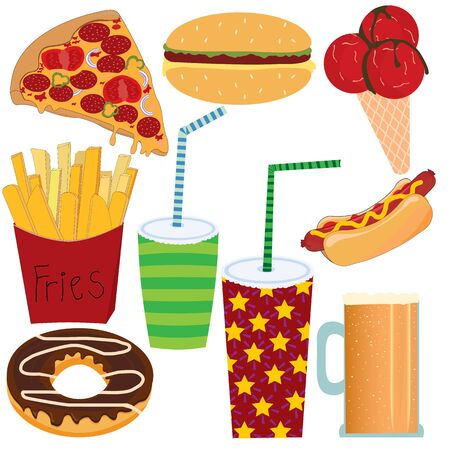 Set of nine fast food products icons; vector illustration; pepper; green; burger; salad; ice cream; chocolate; cream; Çizim