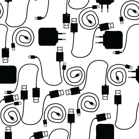 Seamless pattern with USB type A and type B, cable and mobile phone charger; vector illustration