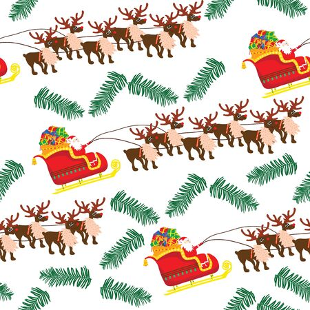 Santa Claus sledge and fir twig seamless pattern; Christmas seamless illustration with white background; vector illustration