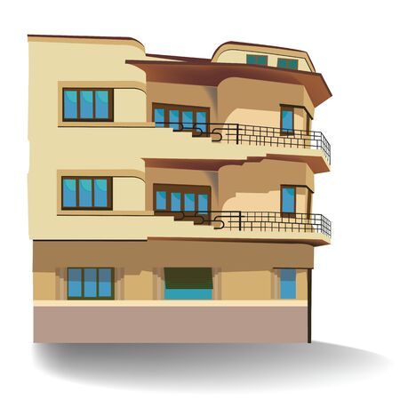 Illustration of building with two floors; vector illustration