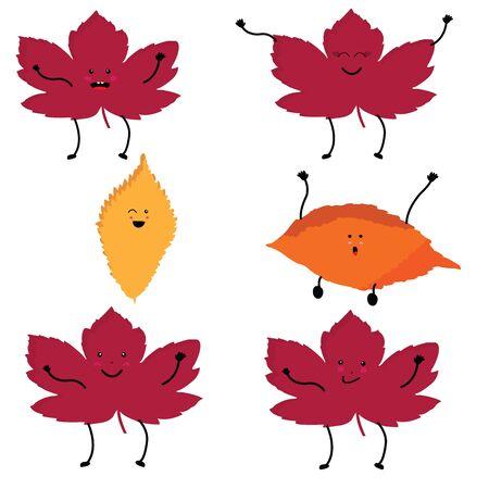 Set of six amusing kawaii leaves; pink and yellow kawaii style leaves 일러스트