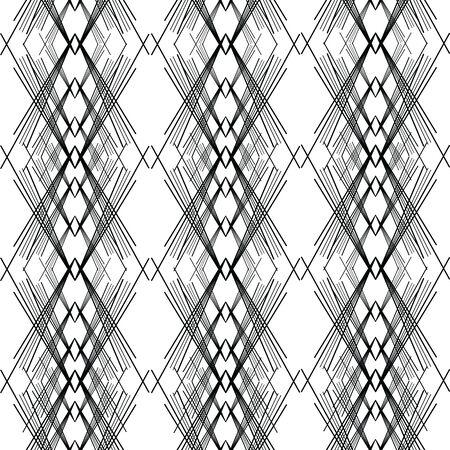 Modèle sans couture oblique abstrait d'art de ligne ; Lignes noires asymétriques unies en illustration vectorielle transparente