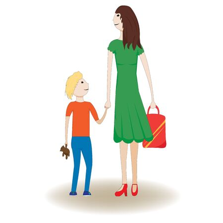 Design of mother with handbag walking with her child with teddy bear; vector illustration; Çizim