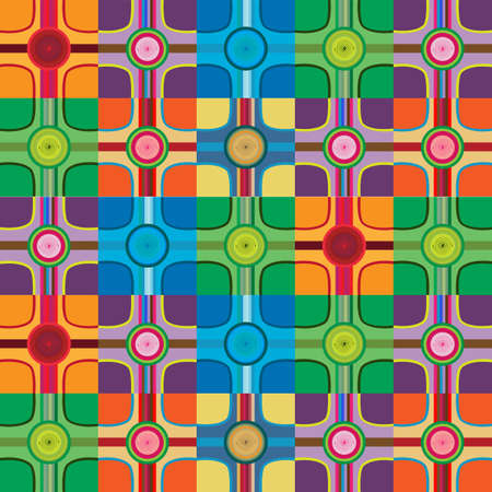 Abstract colorful design background; geometric colorful shapes intersect in colorful circles; vector background