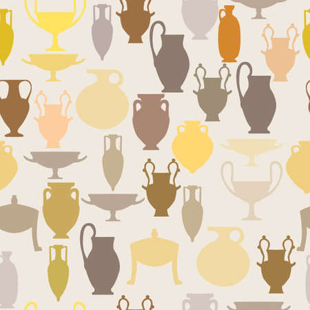 Ancient pottery seamless pattery; ancient ceramic silhouettes together in seamless pattern; can be used for prints