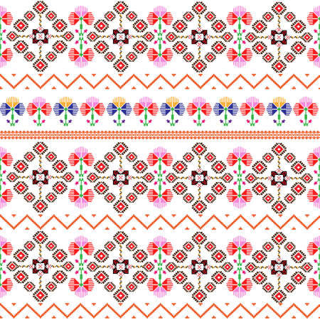 Seamless pattern inspired by Romanian folk traditional embroidery; colorful design pixel art with traditional motif